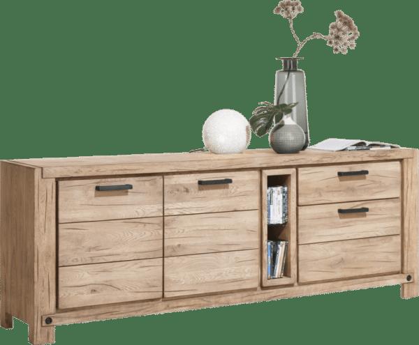 Buffet bois finition naturelle H&H chez Infiny Home vue de profil