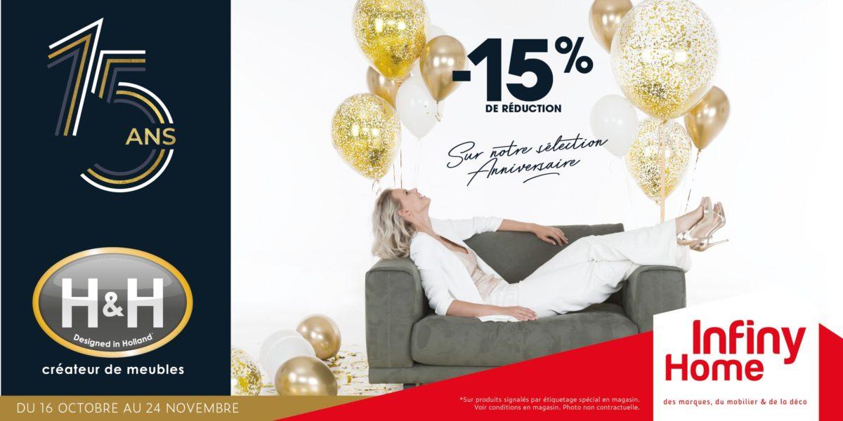 Anniversaire 15 ans H&H avec 15% de remise